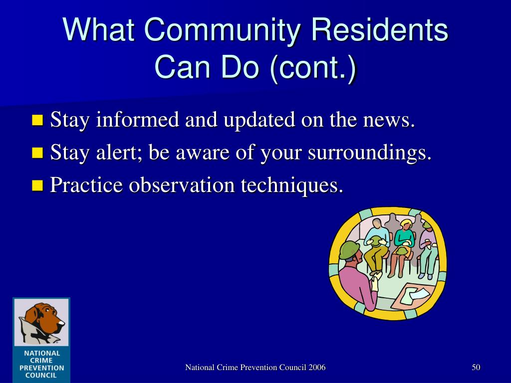 What Community Residents Can Do (cont.)