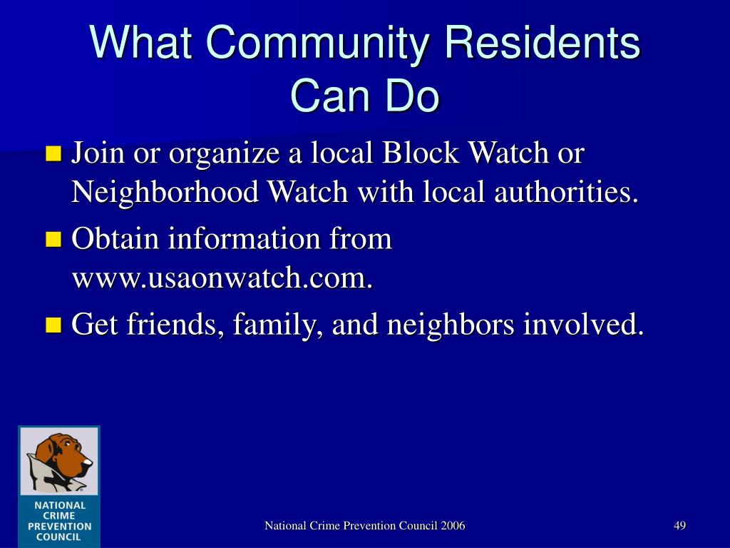 What Community Residents Can Do