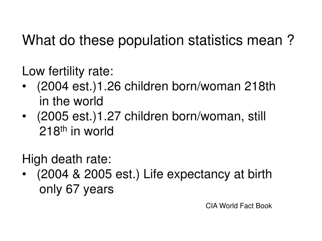 What do these population statistics mean ?