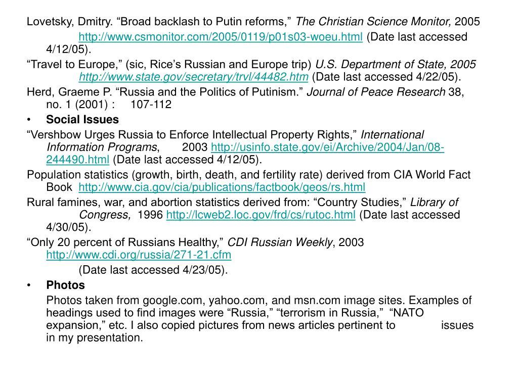 "Lovetsky, Dmitry. ""Broad backlash to Putin reforms,"""