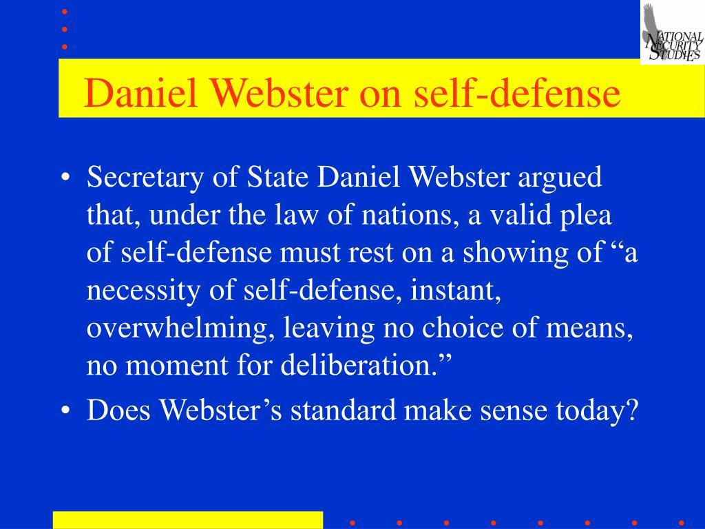 Daniel Webster on self-defense