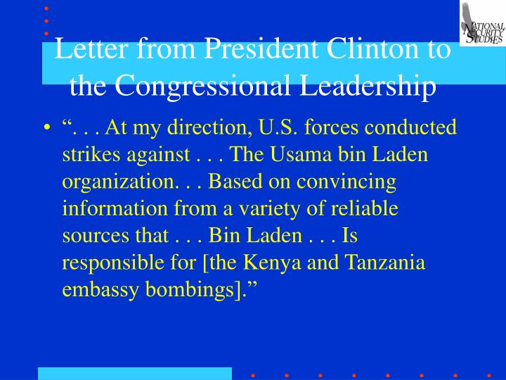 Letter from president clinton to the congressional leadership