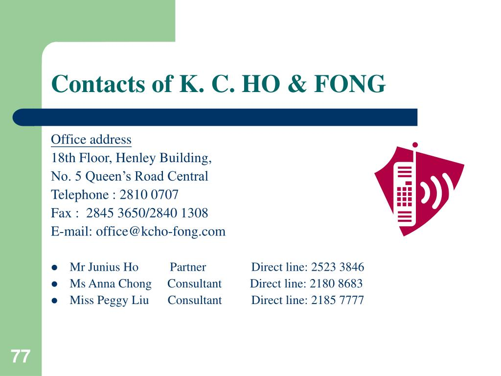 Contacts of K. C. HO & FONG