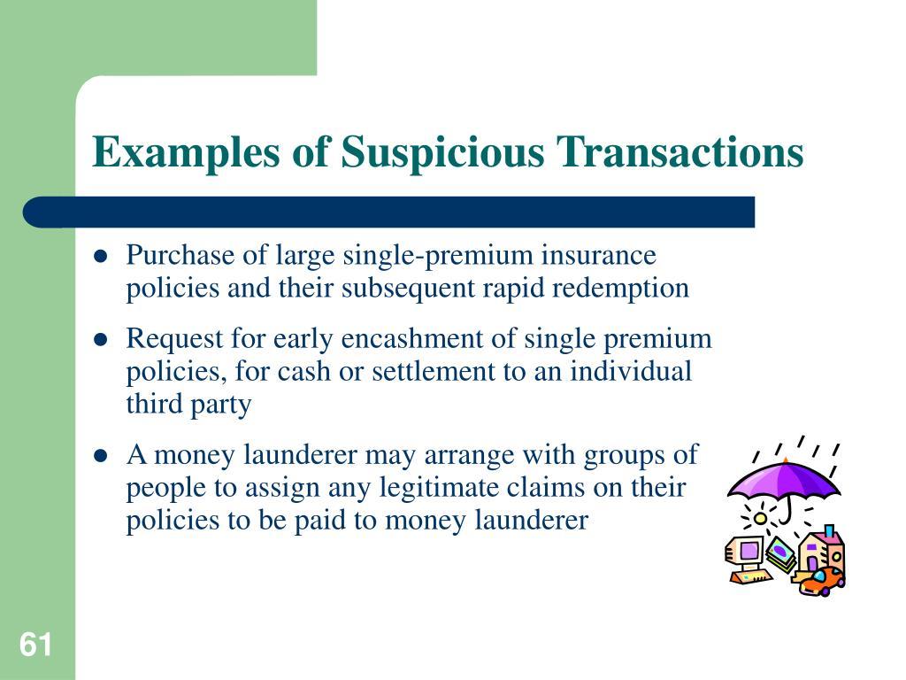 Examples of Suspicious Transactions