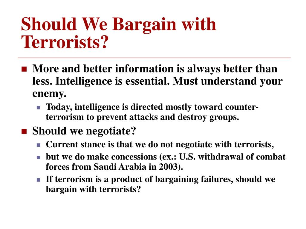 Should We Bargain with Terrorists?