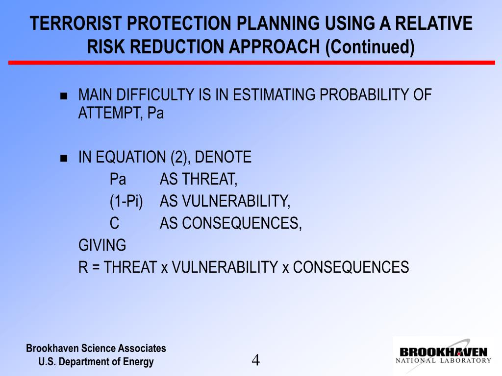 TERRORIST PROTECTION PLANNING USING A RELATIVE RISK REDUCTION APPROACH (Continued)