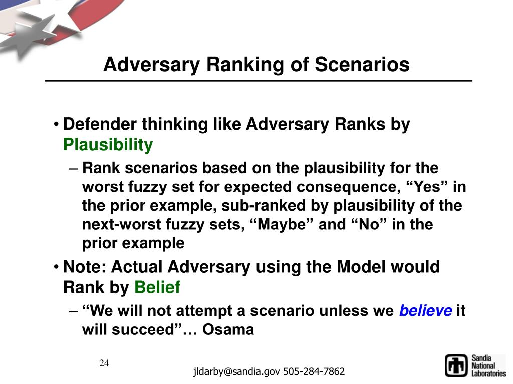 Adversary Ranking of Scenarios