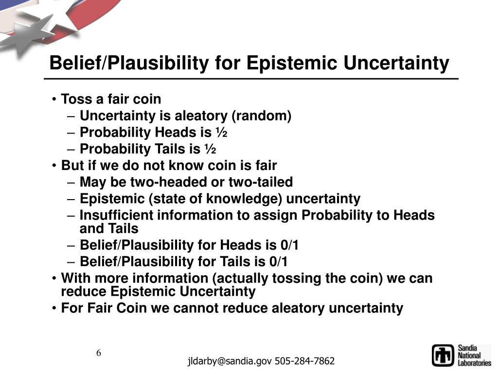 Belief/Plausibility for Epistemic Uncertainty