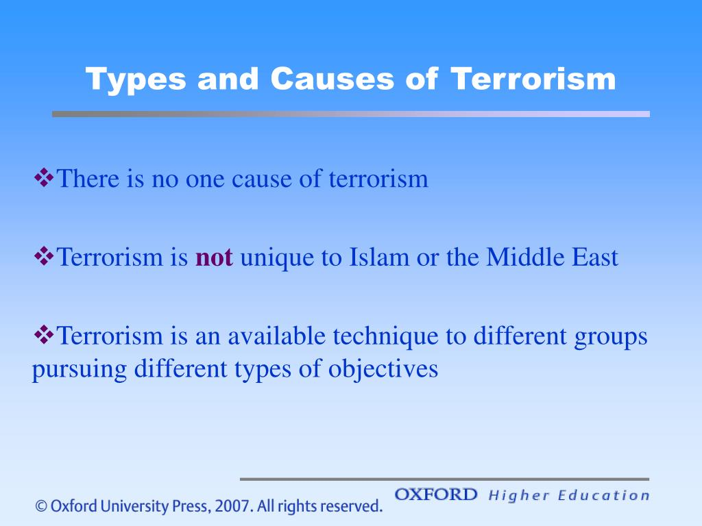 Types and Causes of Terrorism