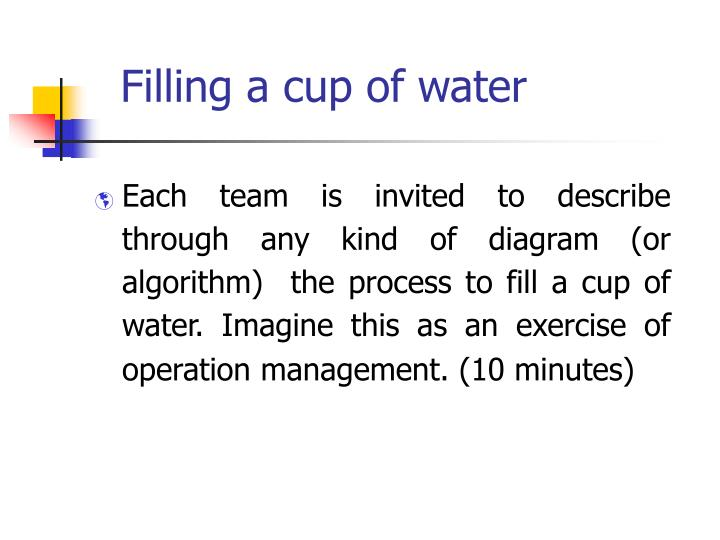 Filling a cup of water