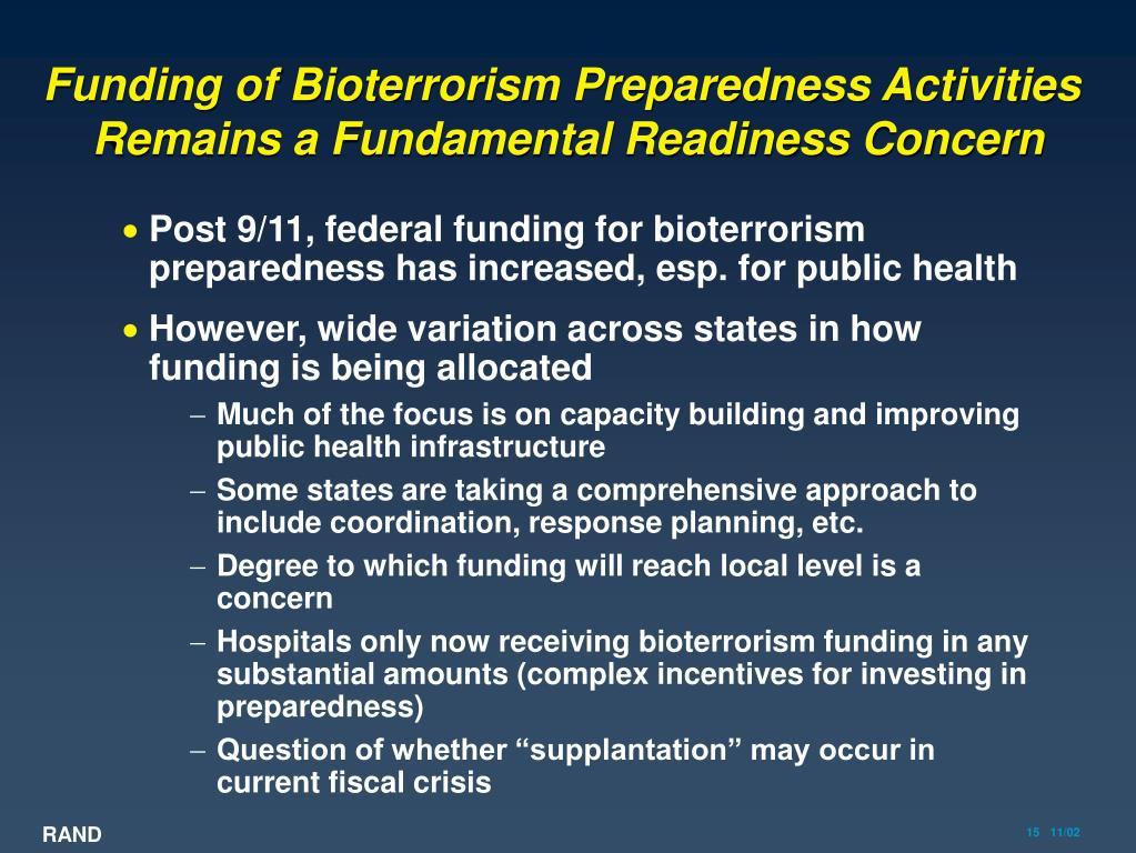 Funding of Bioterrorism Preparedness Activities