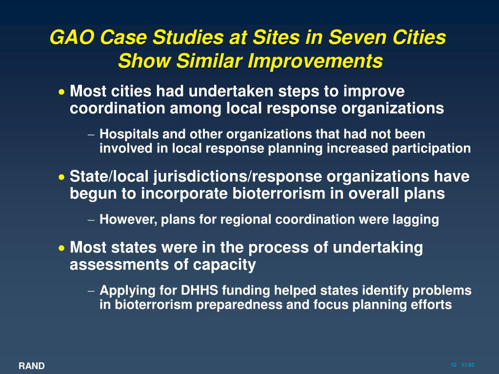 GAO Case Studies at Sites in Seven Cities