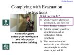 complying with evacuation instructions