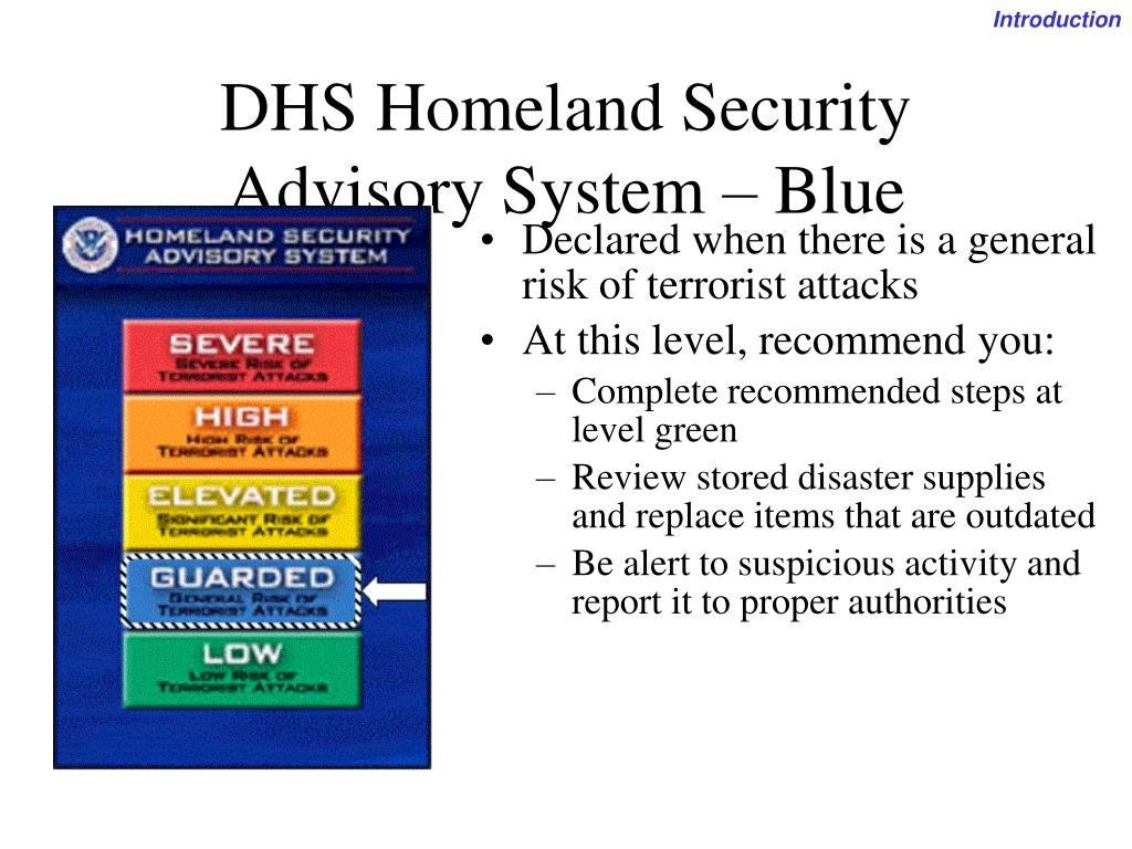 Declared when there is a general risk of terrorist attacks