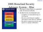 dhs homeland security advisory system blue