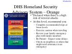 dhs homeland security advisory system orange