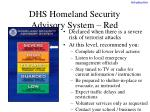 dhs homeland security advisory system red