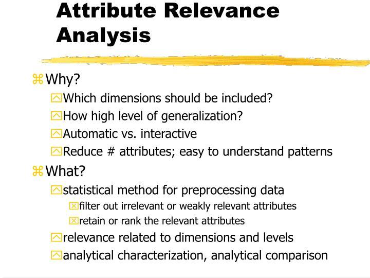 Attribute Relevance Analysis
