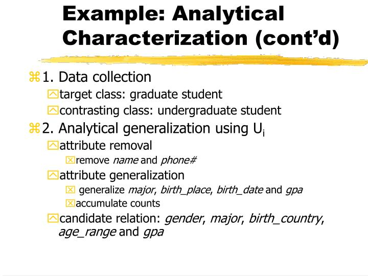 Example: Analytical Characterization (cont'd)