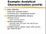 example analytical characterization cont d