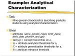 example analytical characterization
