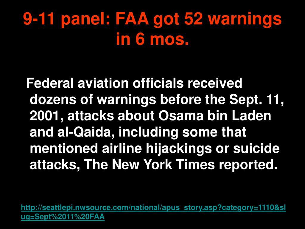 9-11 panel: FAA got 52 warnings in 6 mos.