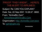 proof they knew here s the alert to airlines