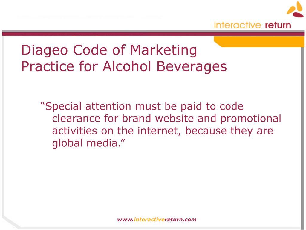 Diageo Code of Marketing