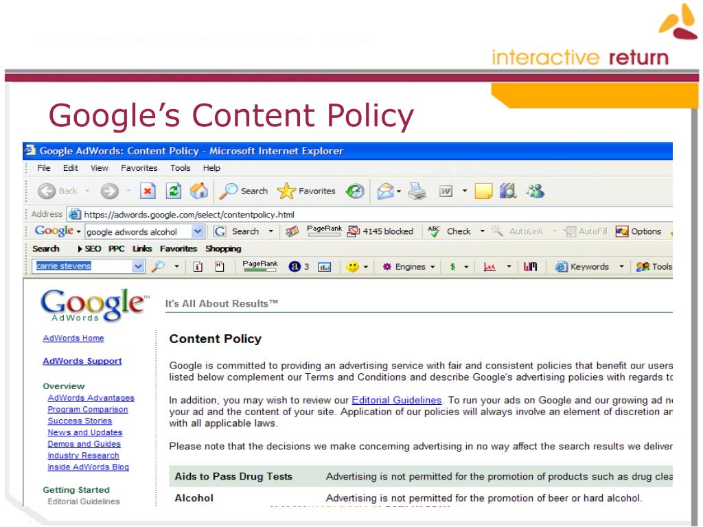 Google's Content Policy