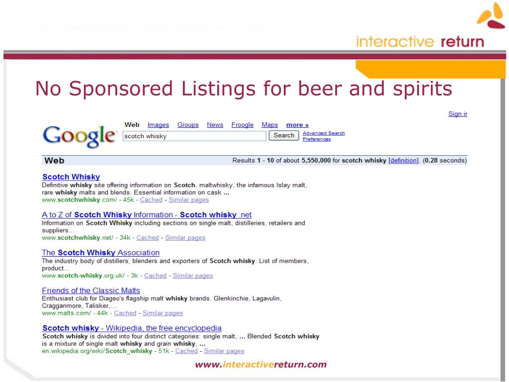 No Sponsored Listings for beer and spirits