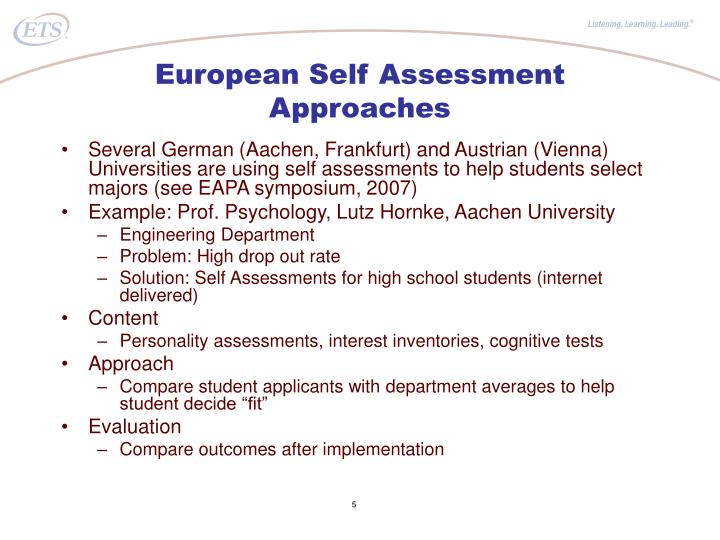 European Self Assessment Approaches