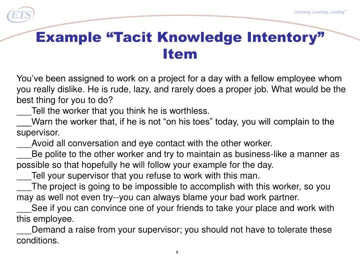 "Example ""Tacit Knowledge Intentory"" Item"