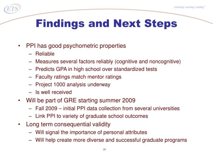Findings and Next Steps