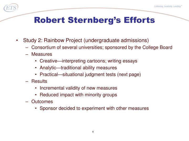Robert Sternberg's Efforts