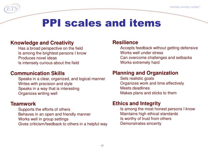 PPI scales and items