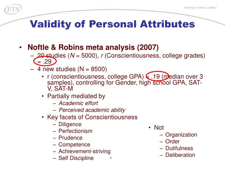 Validity of Personal Attributes