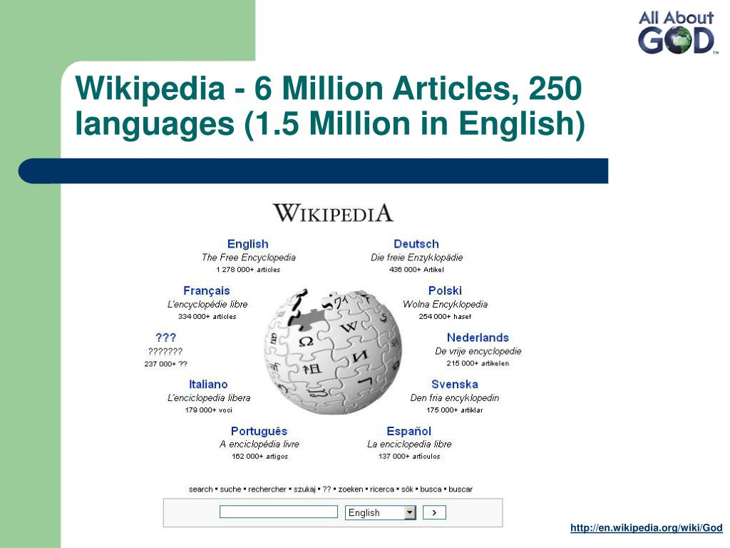 Wikipedia - 6 Million Articles, 250 languages (1.5 Million in English)