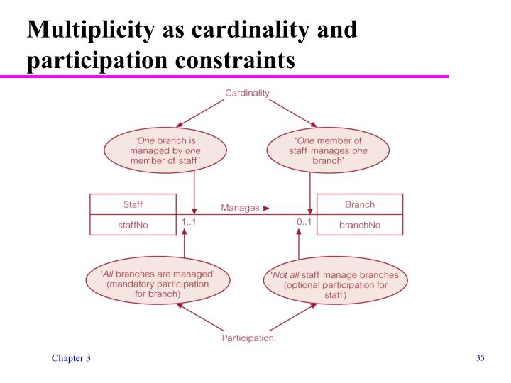 Multiplicity as cardinality and participation constraints