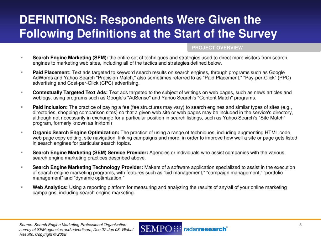 DEFINITIONS: Respondents Were Given the Following Definitions at the Start of the Survey