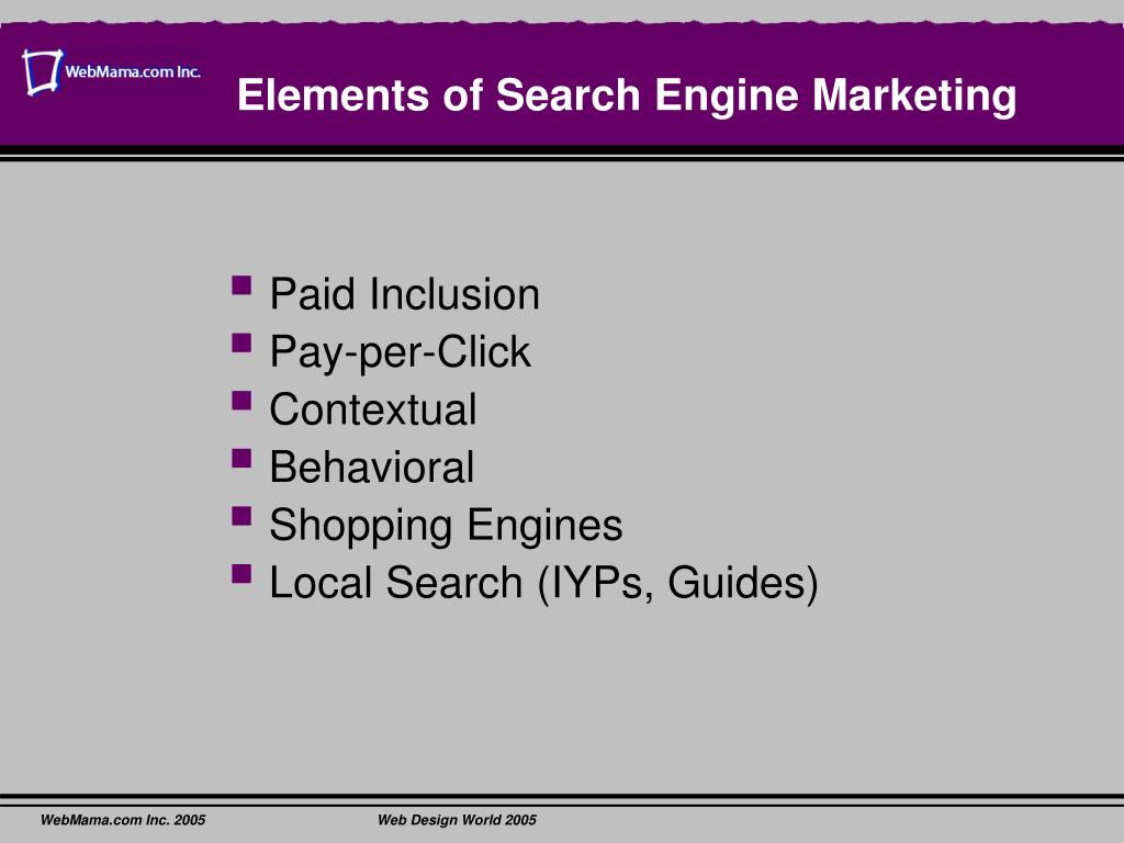 Elements of Search Engine Marketing