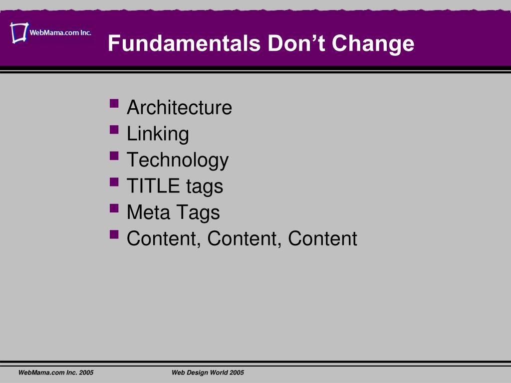 Fundamentals Don't Change