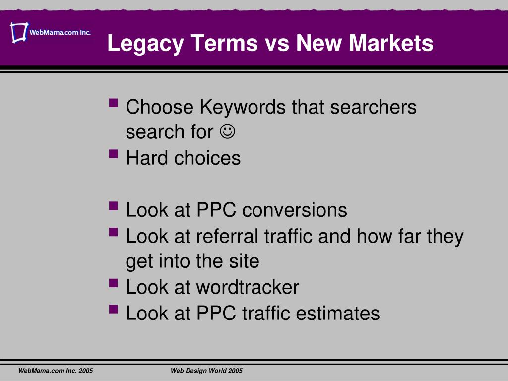 Legacy Terms vs New Markets