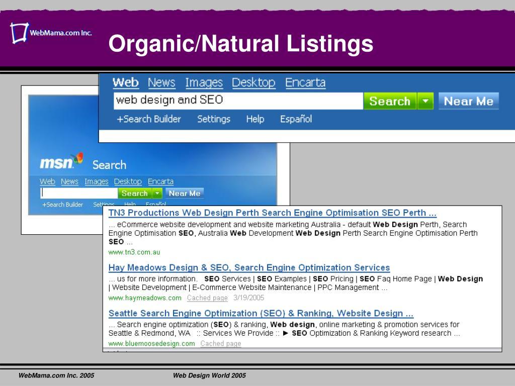 Organic/Natural Listings