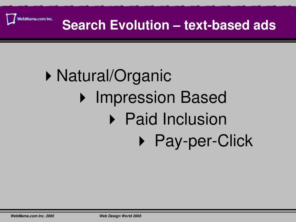 Search Evolution – text-based ads