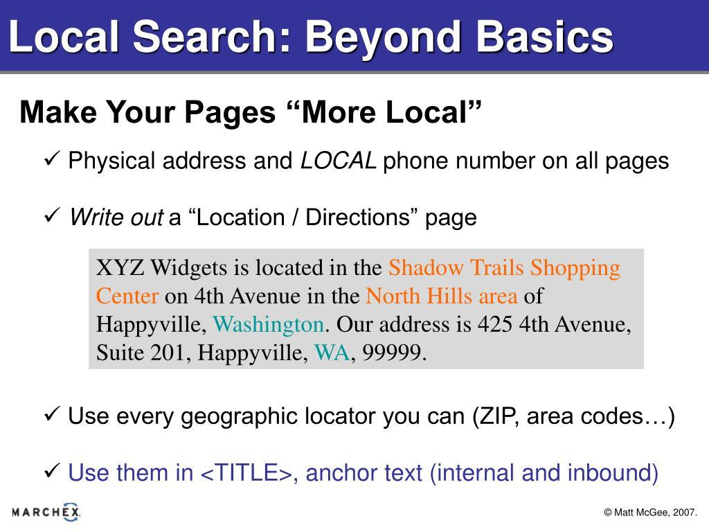 Local Search: Beyond Basics