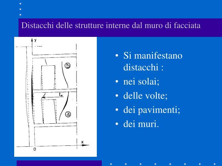Distacchi delle strutture interne dal muro di facciata
