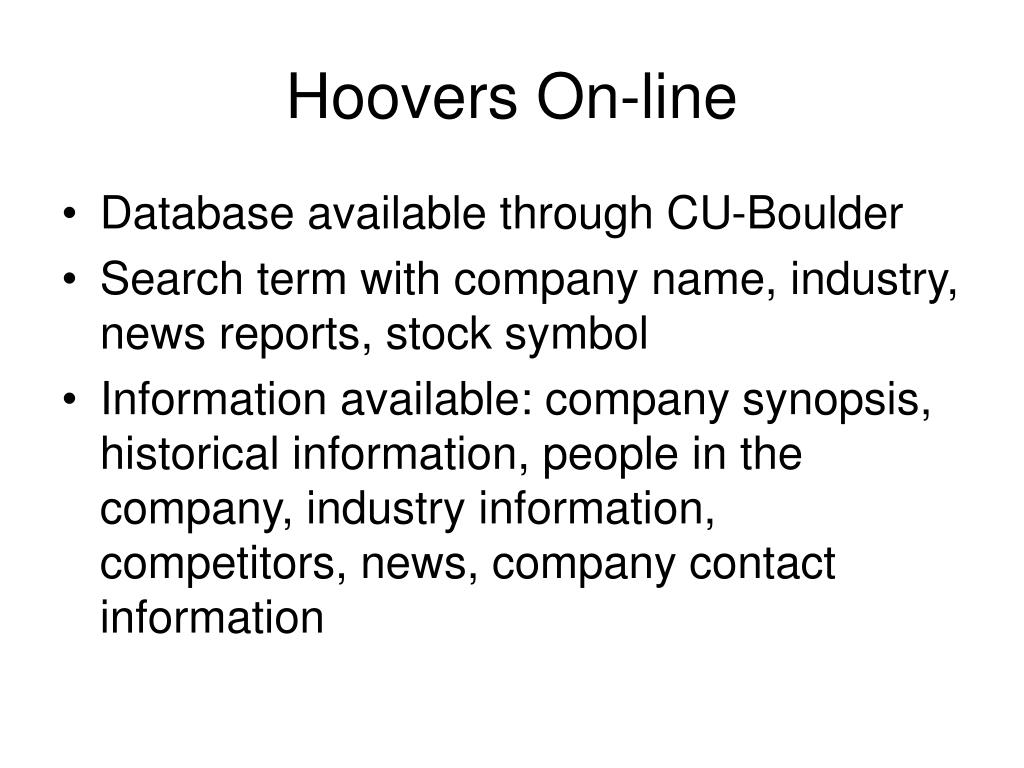 Hoovers On-line