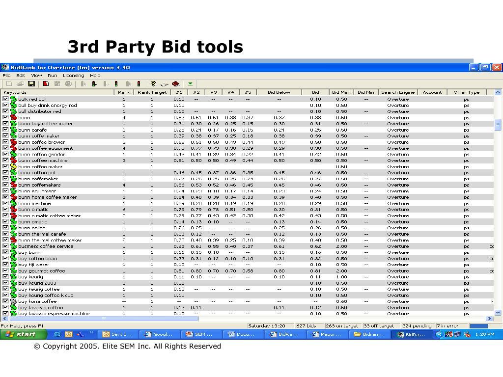 3rd Party Bid tools