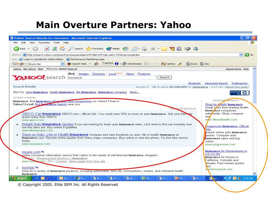 Main Overture Partners: Yahoo