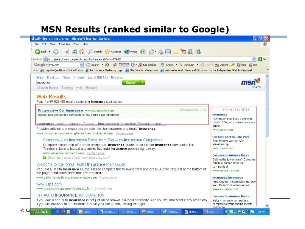 MSN Results (ranked similar to Google)